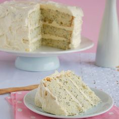 Lemon-poppy seed cake with vanilla-cream cheese frosting @keyingredient #cake #cheese