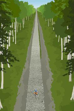 Velo Illustration 102: «Arenberg» by Steve Thomas. Das Eintages-Radrennen Paris–Roubaix ist eines der «Fünf Monumente des Radsports». Berühmt-berüchtigt ist die Trouée d'Arenberg, eine 2400 Meter lange Schneise durch den Wald. 100 Kilometer vor dem Ziel fällt hier oft eine Vorentscheidung. 2005 wurde das Kopfsteinpflaster restauriert und «entschärft», Arenberg bleibt aber ein 5-Sterne-Abschnitt (höchste Schwierigkeitsstufe).