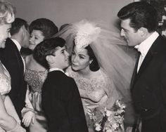 Annette Funicello's wedding day, January 9, 1965. Annette and her brother Mike.