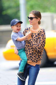 Miranda Kerr and her son Flynn Christopher Blanchard Copeland Bloom.