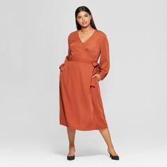 ee9d861ca0 Women s Plus Size Long Sleeve Wrap Midi Dress - Who What Wear™ Spice