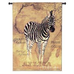 A zebra against a sun-drenched African map gives this Fine Art Tapestries African Voyage II Wall Tapestry its safari feel. This premium woven cotton.