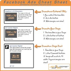 Facebook ads cheat sheet www.socialmediamamma.com  Facebook Ad Dimensions and Character Limits [Infographic]