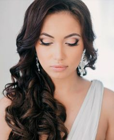 #wedding #hair swept to the side with curls, hmmmmm could be an option