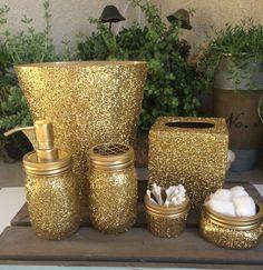 Gold glitter mason jar bathroom set , soap dispenser , trash can , tissue box, tooth brush holder