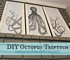 DIY - How-to - beach / coastal decor - octopus triptych - The Graphics Fairy - DIY-octopus-triptych-printable