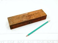 "Antique French Wooden Pencil Box with ""Plumier"" Inscribed on the Lid and Dovetail Joints, Country Decor, Desk, Office, School, France, Pupil by VintageDecorFrancais on Etsy"