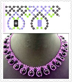 Collar Diy Necklace Patterns, Beaded Earrings Patterns, Beaded Jewelry Designs, Bead Loom Patterns, Bead Jewellery, Seed Bead Jewelry, Beading Patterns, Beading Projects, Beading Tutorials