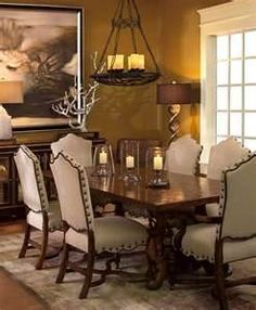 Tuscan decorating style family rooms are elegantly inviting.