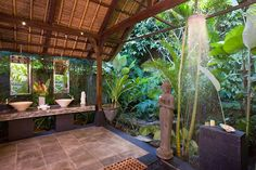love the outdoor bathroom and the shower is amazing.