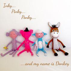 Handmade toy foursome - felt toy - monkey - pig - lamb - donkey - gift - toy - plushie - felt plushie - Rhyme by EverSewNice on Etsy Toy Monkey, Felt Toys, Handmade Toys, Plushies, Wool Felt, Etsy Seller, My Etsy Shop, Donkey, Holiday Decor