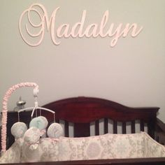 Wooden Name Sign Nursery Large Letters Baby Decor Wall Art Glittered