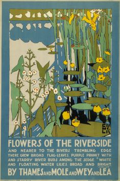 "illustration : ""flowers of the riverside"", affiche UK par Edward McKnight Kauffer, plantes aquatiques, nénuphars, bords de l'eau London Transport Museum, Tourism Poster, Design Poster, Graphic Design, Book Design, Vintage Travel Posters, Illustrations Posters, Illustration Art, Poster Prints"
