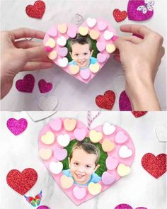 Candy Heart Valentine Craft For Kids This candy heart wreath is a fun and easy Valentine craft for kids to make at home or at school! It's simple enough for preschool, kindergarten and elementary children. Make in the classroom to give to parents or make at home.   #simpleeverydaymom #valentinecrafts #kidscrafts #craftsforkids<br> Make this easy Valentine wreath craft for kids with a few cheap supplies & your child's photo. It's a great art project for the classroom or at home! Preschool Valentine Crafts, Valentine's Day Crafts For Kids, Classroom Crafts, Diy Niños Manualidades, Heart Wreath, Preschool Kindergarten, Valentine Wreath, Valentine Box, Valentine Ideas