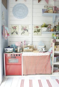Cottage kitchen | planked walls.  I love this simple, retro, farm look.  I think I covered it all!!