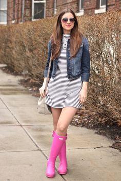 Striped Shift, Denim Jacket and Pink Hunter Rainboots