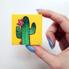 Little Cactus Painting Cacti Painting Colorful Cacti Cactus #OilPaintingNature