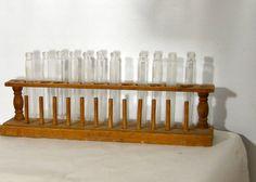 Test tube rack vintage wooden holder Dozen laboratory bottles Pyrex