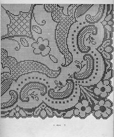Kira scheme crochet: Scheme crochet no. Filet Crochet, Graph Crochet, Crochet Doily Patterns, Crochet Motif, Crochet Doilies, Knit Crochet, Crochet Tablecloth, Monochrom, Cross Stitching