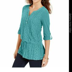Style&co. Lace Blousn Henley Style&co. Lace Blousn Henley  Color: Lake Breez Style & Co Tops Blouses