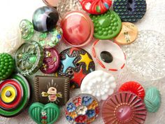 80 Assorted Vintage to Contemporary Buttons - flower, glass, painted wood, metal