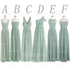 I think my favorite look now is the mismatched sparkly dresses, but I have always liked this dusty mint green color too as an alternate option -A