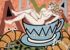 JACQUELINE DITT - Café au Lait 2012 Gemälde Kaffee Bild Akt nude Bilder Kunst