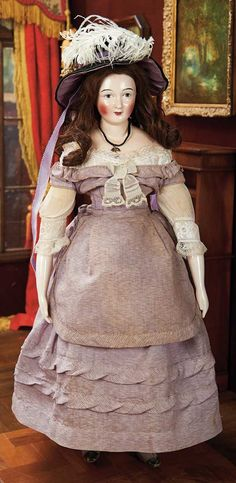 Early 19th-Century Czech Porcelain Doll by Lippert & Haas of Schlaggenwald in Original Costume