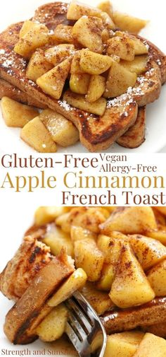 Gluten-Free Apple Cinnamon French Toast (Vegan, Allergy-Free) | Strength and Sunshine | This Gluten-Free Apple Cinnamon French Toast is an easy vegan, allergy-free, and healthy breakfast recipe that's perfect for fall! Classic egg-free French toast with a quick and simple apple cinnamon compote, you won't even need maple syrup! #frenchtoast #applecinnamon #veganbreakfast #glutenfreebreakfast