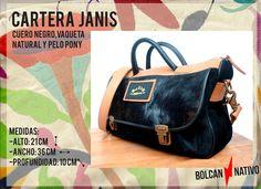 CARTERA | JANIS -Cuero Gamuzado Negro -Cuero Vaqueta Natural -Cuero negro -Cuero Pelo Negro -Herrajes Bronce CARTERAS DE CUERO | Bolcan Nativo