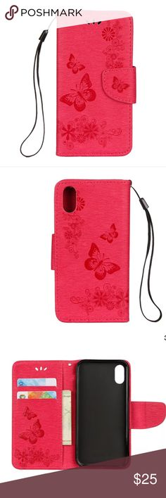 NWT iPhone X phone case Brand new/ reddish pink/ butterfly design/ magnetic flap case/ Accessories Phone Cases
