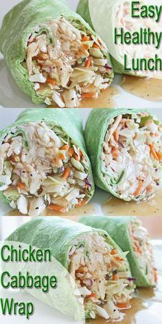 Healthy Lunch Recipe Chicken and Cabbage Wrap Clean Eating Meal Plan Easy and Cheap Healthy Meals Weight Loss Meal Plan Clean Eating Meal Plan, Clean Eating Recipes, Lunch Recipes, Cooking Recipes, Lunch Meals, Crockpot Recipes, Cabbage Wraps, Chicken And Cabbage, Ginger Chicken
