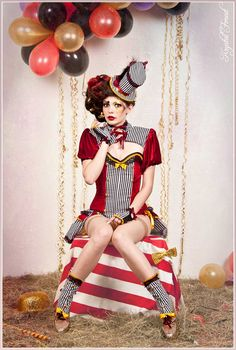 Red white and black circus costume
