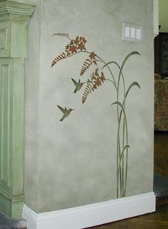 Hummingbird stencil Happy Hour Reusable por CuttingEdgeStencils