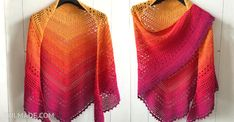 Free #crochet pattern for this Bella Vita #triangle #Shawl can be found on wilmade.com. Including video tutorial. Made with a #gradient #plied #yarn #cake