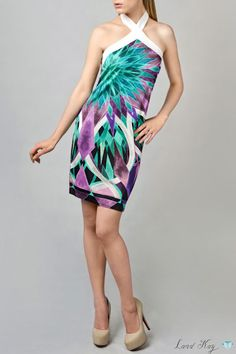 Turquoise Violet  Jungle Print Dress by Land Kay. 100 % Viscose Jersey. Please leave a request through http://landkay.com/en/lookbook.php