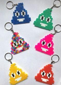 Emoji Poo Keyring Hama Bead Handmade UK