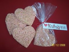 Valentine's Krispie Treat Hearts and hand-written name tags for classrooms and playgroups.