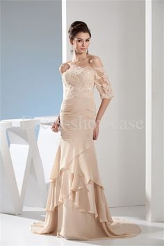 Beading Rehearsal Dinner Beige Floor-Length Dress -Special Occasion Dresses #pretty prom dress  #beautiful prom dress,  #cheap prom dress -  #prom dresses photo -  dresses  girl's fashion -  prom dresses online -  2013 romantic prom dress  #plus size prom dress