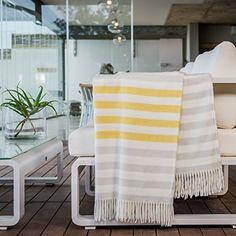 Throw Blanket, MELODY BORDER STRIPE, Super-Soft & Cozy by...
