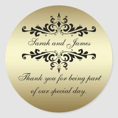 Gold Black Swirls Thank You Wedding Favor Stickers 50th Anniversary Favors, 25th Wedding Anniversary, Elegant Wedding Favors, Wedding Decor, Wedding Ideas, Thank You Stickers, Wedding Stickers, Monogram Wedding, Wedding Thank You