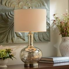 We LOVE the Dynia Silver Mercury Glass Table Lamp for an office! #kirklands #officedecor #lighting