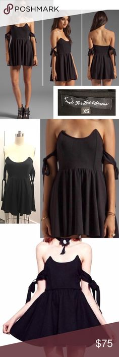 "FOR LOVE AND LEMONS Kiss Me black mini dress FOR LOVE AND LEMONS Kiss Me black mini dress, back zip, excellent condition, plastic bodice boning, approx 24"" long (in my opinion, could be worn as a top also).  Cute!  cr1/62 For Love And Lemons Dresses"