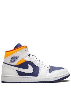 Cute Nike Shoes, Cute Nikes, Jordan Ones, Jordan 1 Mid, Orange Sneakers, Sneakers Nike, Designer Trainers, Kicks Shoes, Hype Shoes