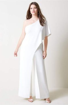 4a9f281837 One shoulder jumpsuit in white or black  party  outfit  formal  Plussize
