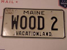 VINTAGE MAINE LICENSE PLATE WOOD 2