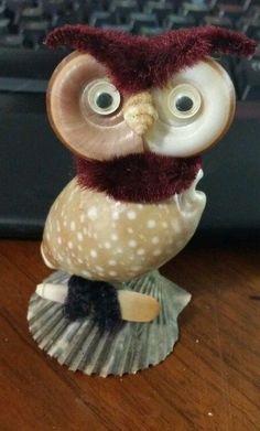 """Vintage Retro 3"""" Seashell Art  Small Owl  U18 FREE SHIPPING"""