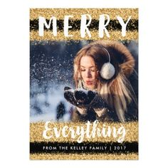 Merry Everything Gold Glitter Holiday Photo Card - invitations personalize custom special event invitation idea style party card cards