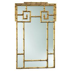 Bamboo Wall Mirror, Gold
