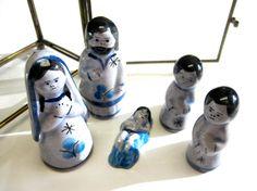 Mexican Nativity Set Jalisco Tonala Blue by sweetie2sweetie